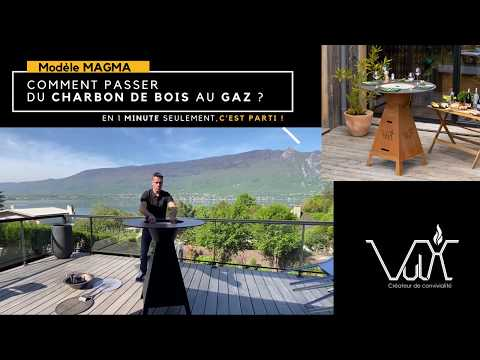 Conversion charbon de bois-gaz table plancha brasero Magma