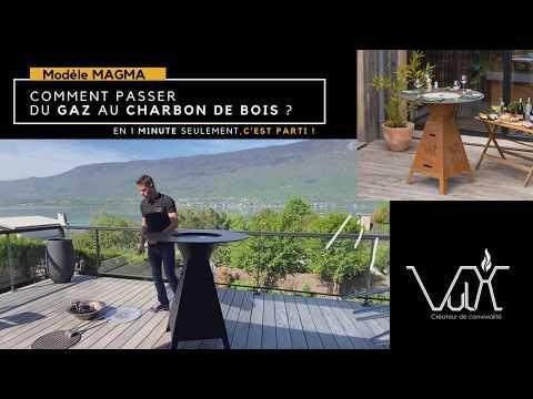 Conversion gaz-charbon de bois table plancha brasero Magma